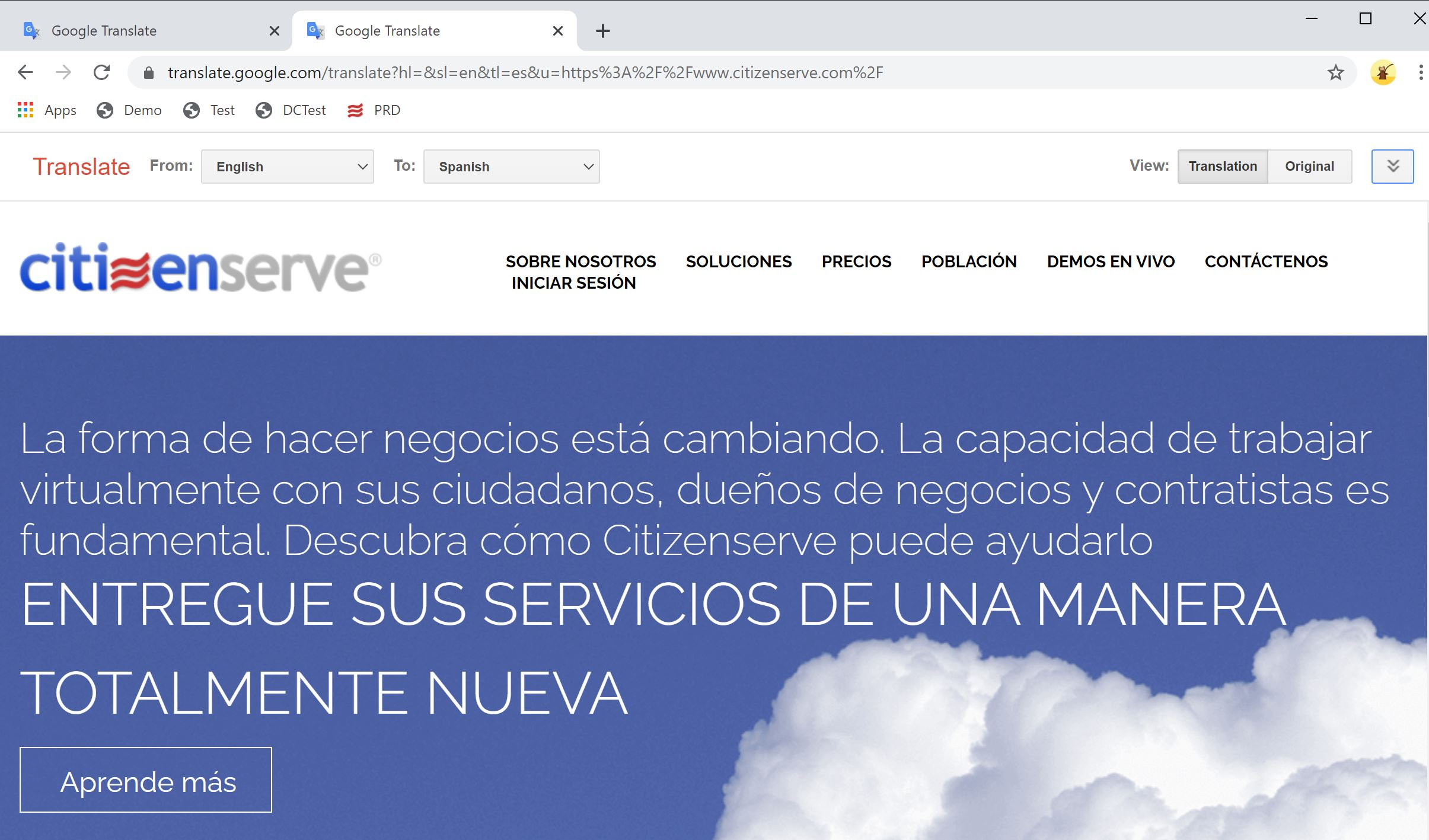 Citizenserve Home Page in Spanish