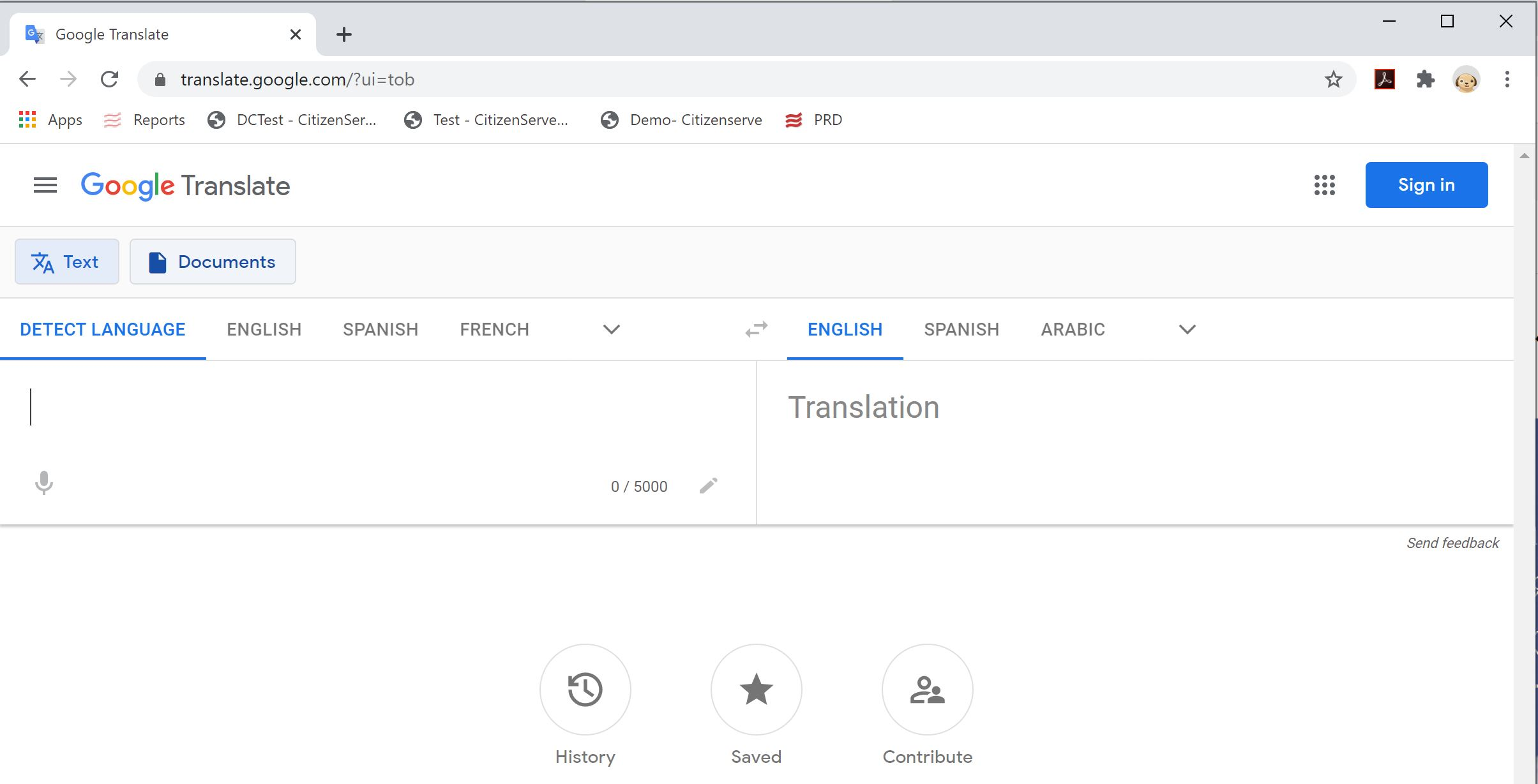 Google Translate Input Screen
