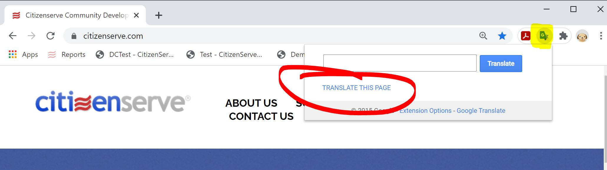 Translate This Page Google Extension Button
